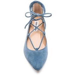 SALE ✨ Blue Suede Lace-Up Pointed Flats